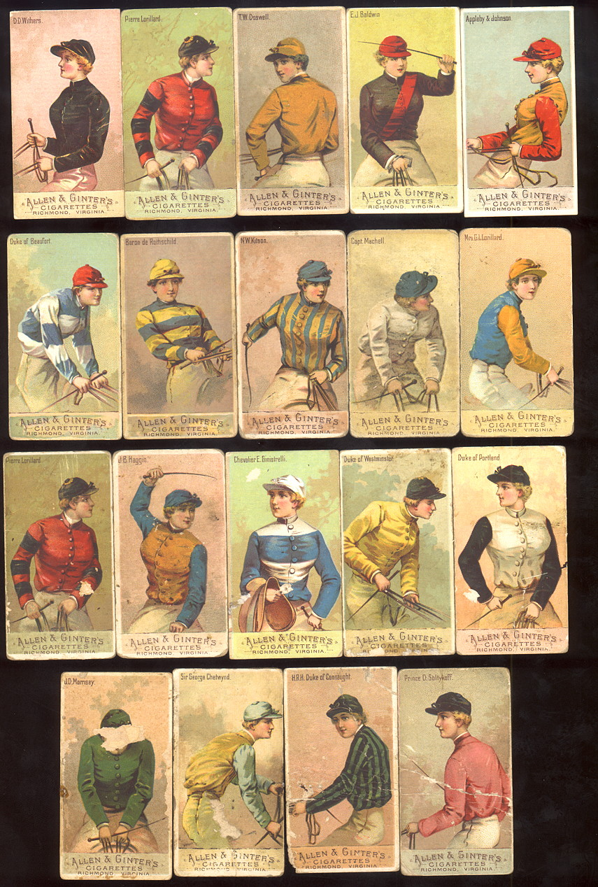 buying old baseball cards and N22 Racing Colors of the World