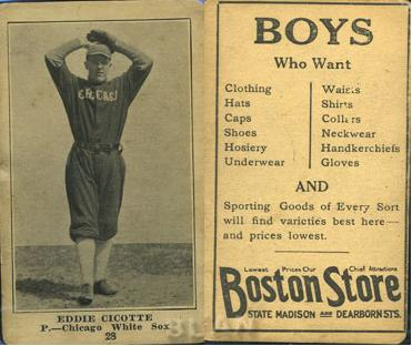 1917 Boston Store baseball card