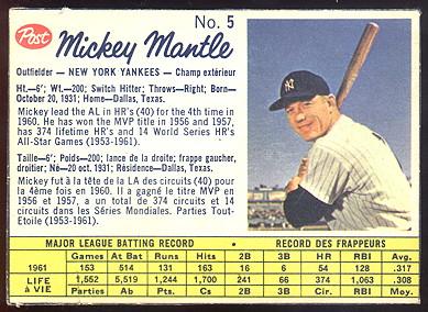 1962 Canadian Post Cereal Baseball Cards Buy Baseball Cards Buy
