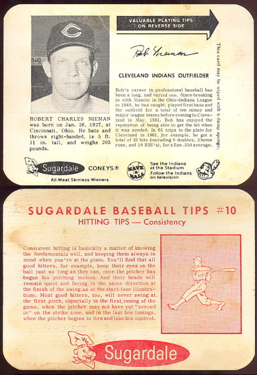 1962 & 1963 Sugardale Meats baseball card (1962 nieman