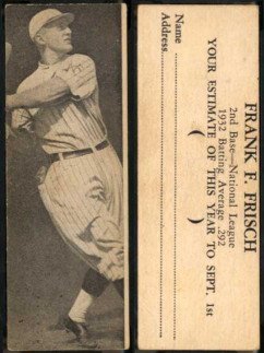 1933 Buttercream R306 Frank Frisch baseball card