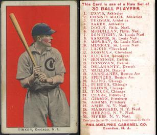 1910 E96 PHiladelphia Caramel baseball card