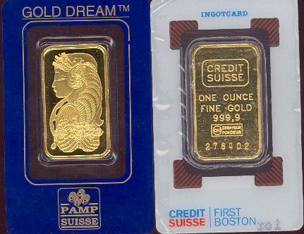 credit suisse and pamp suisse one ounce fine gold bars.