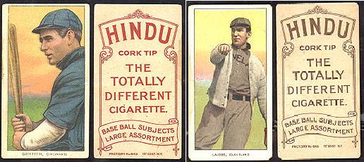 1909-1911 T206 Hindu cork tip cigarettes baseball cards, Griffith (Hindu red print), Lajoie (Hindu brown print).