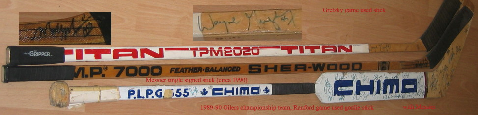 signed sticks, stanley cup championship stick from bill ranford, (mvp) 1989-90 oilers