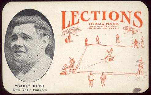 1923 Lections babe ruth baseball card.