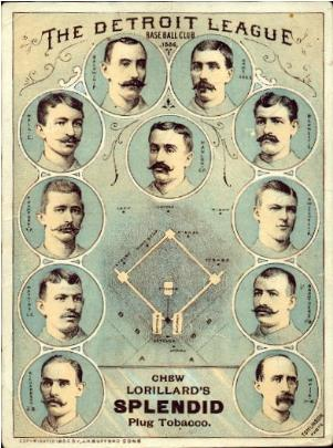 1886 Lorillard Detroit league base ball club team card.
