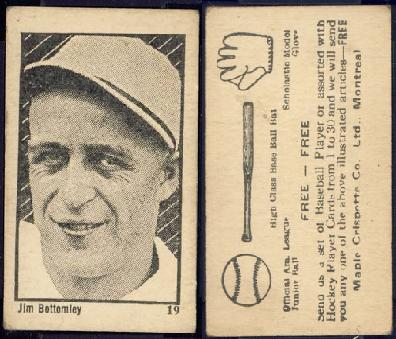 1923 Maple Crispette V117 Jim Bottomley baseball card.