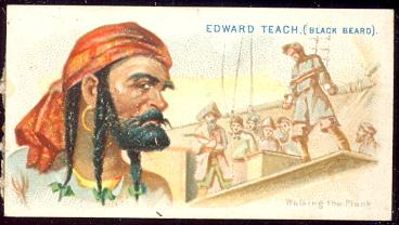 1888 Allen & Ginter N19 Pirates of the Spanish Main Edward Teach (Blackbeard) cigarettes tobacco card