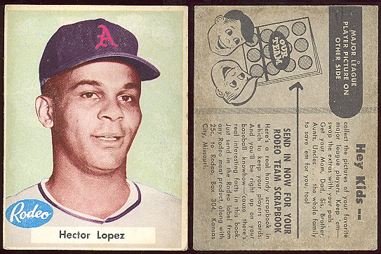 1955 Rodeo Meats baseball card Hector Lopez.