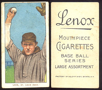 1909-1911 T206 lenox mouthpiece cigarettes baseball card