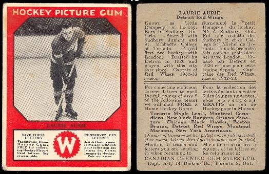 1933-1934 Canadian Gum (V252) hockey card