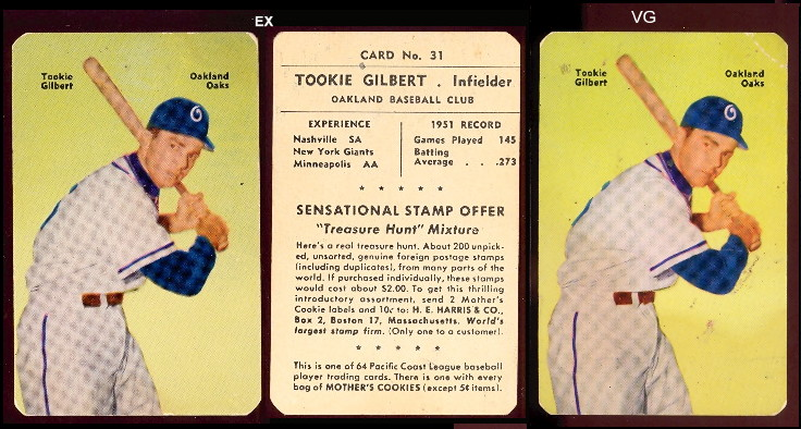 1952 Mothers Cookies Pacific Coast League Baseball Cards Buy