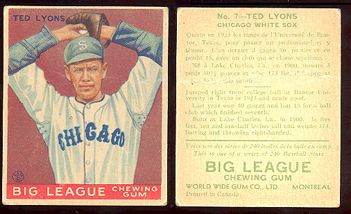 1933 1934 And 1936 World Wide Gum Canadian Goudey Baseball